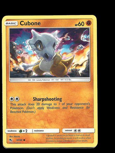 37/68 Cubone Hidden Fates Common Mint Item Image